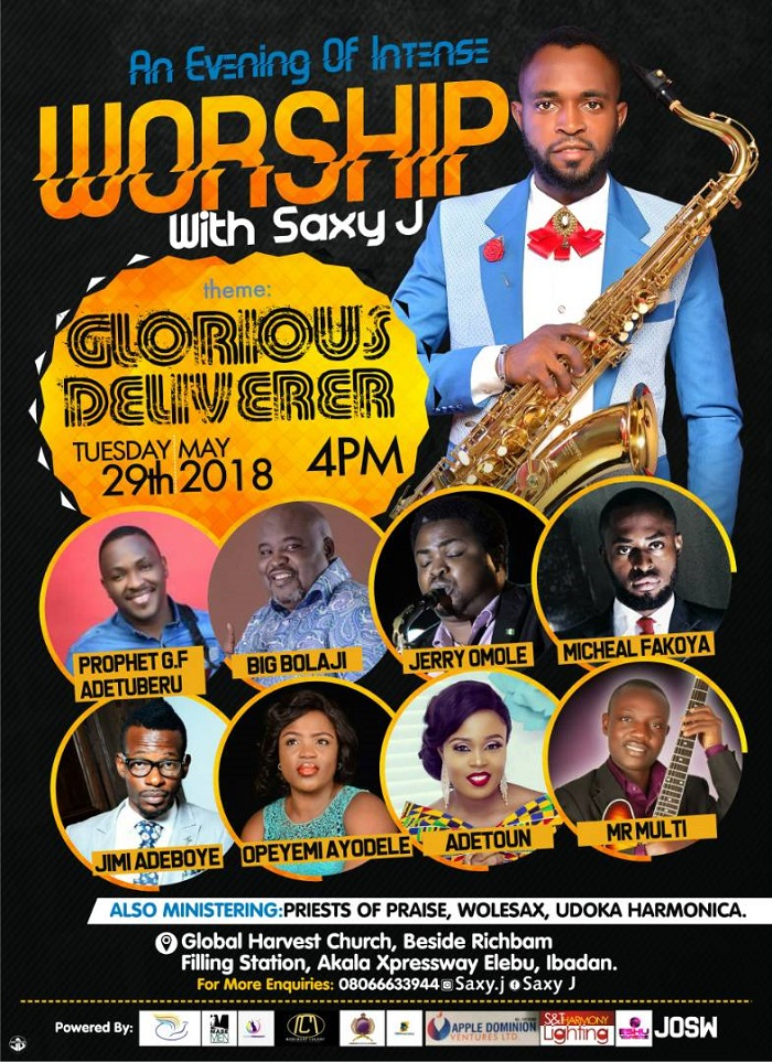 Event An evening of Worship With Saxy J tag Glorious Deliverer