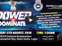 RCCG August 2018 Special Thanksgiving Service