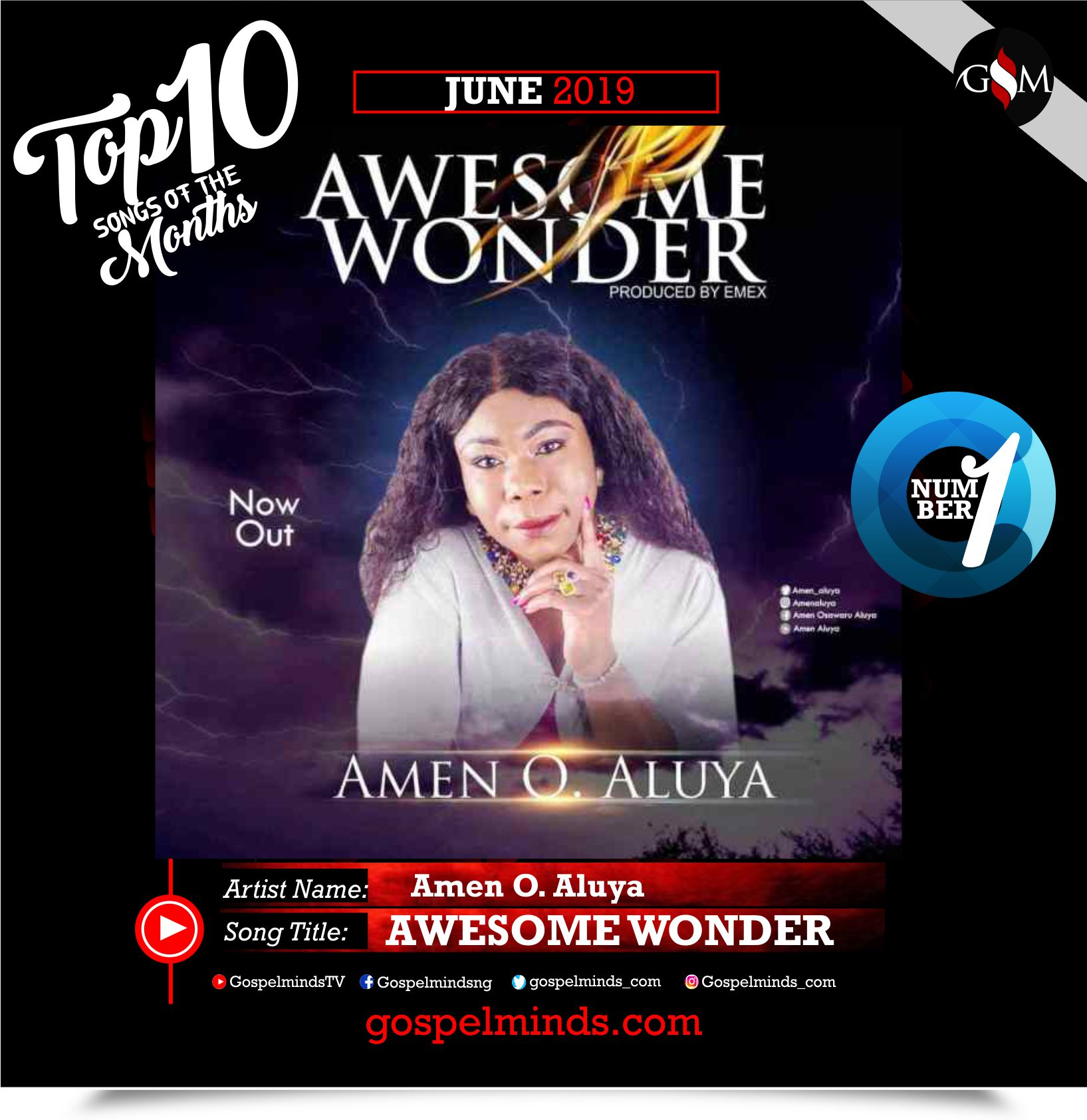 Top 10 Gospel Songs of The Month - June 2019 GospelMinds Ent. (Amen O. Aluya - Awesome Wonder)