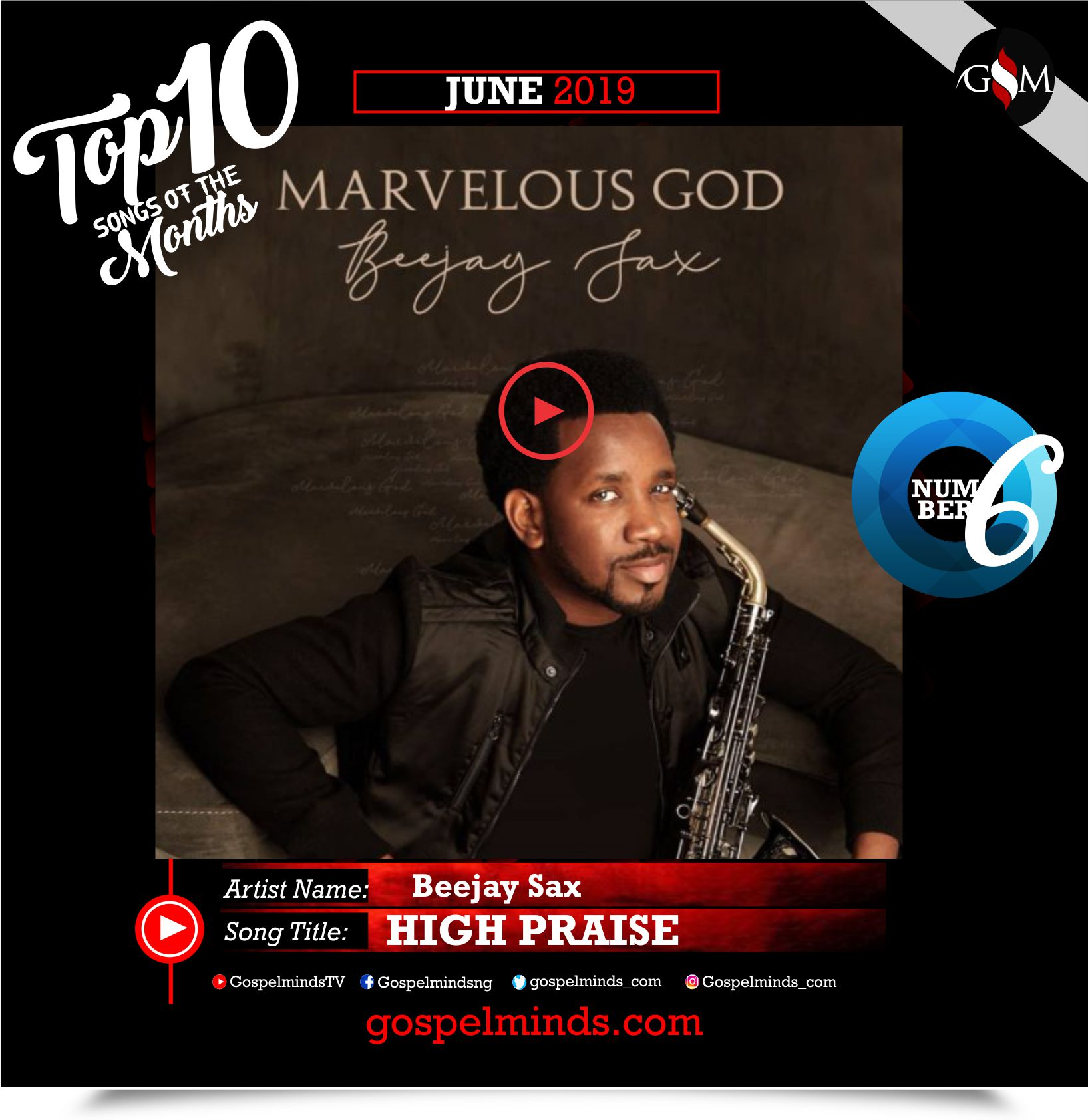 Top 10 Gospel Songs of The Month - June 2019 GospelMinds Ent. (Beejay Sax – High Praise)