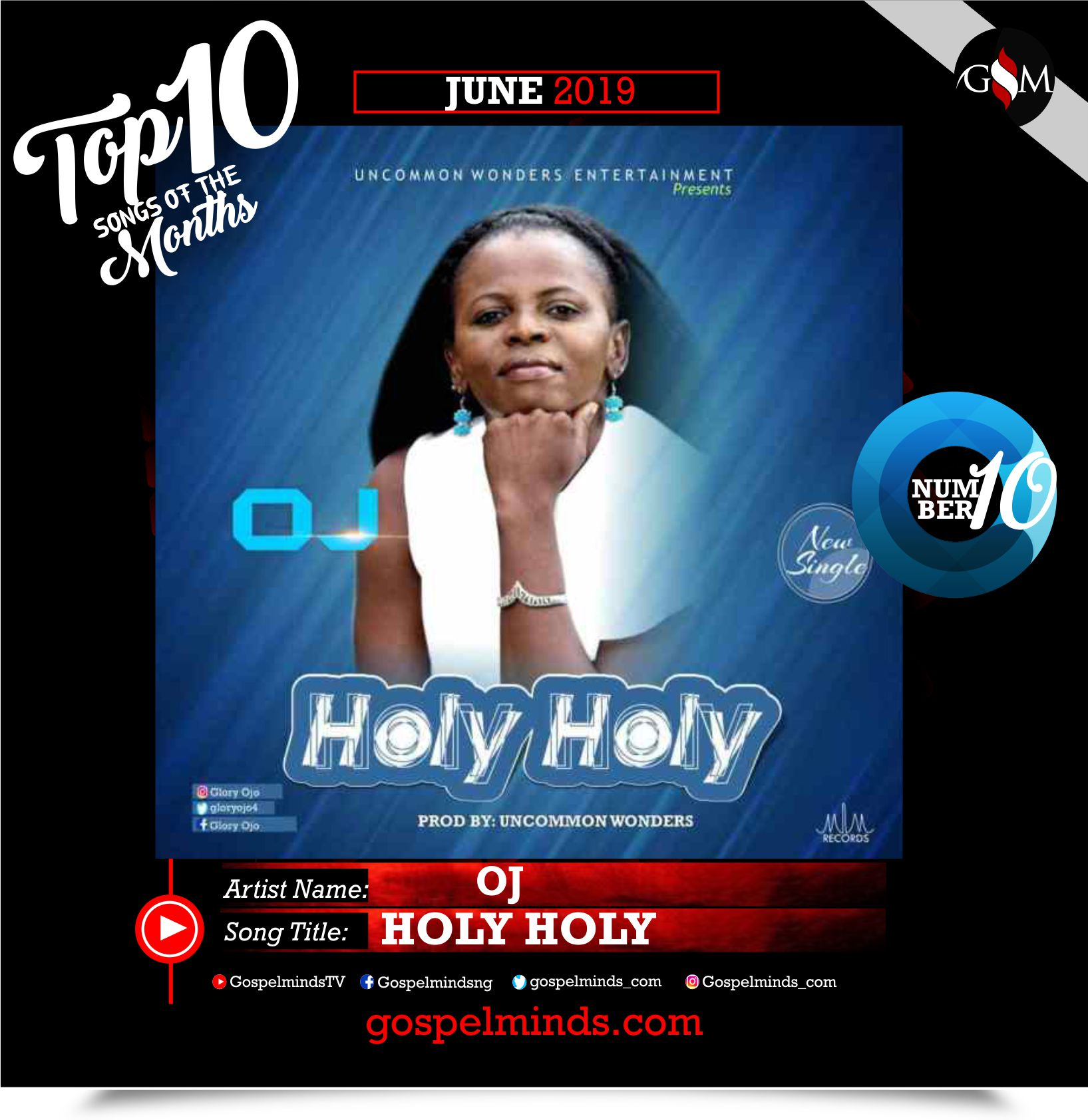Top 10 Gospel Songs of The Month - June 2019 GospelMinds Ent. (Oj - Holy Holy)