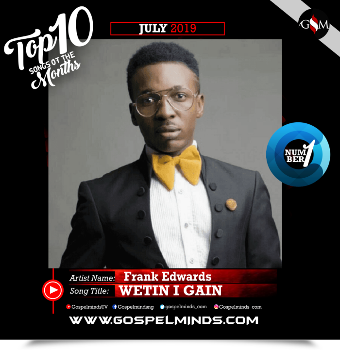 Top 10 Gospel Songs of The Month - June 2019 GospelMinds Ent. (Frank Edwards – Wetin I Gain)