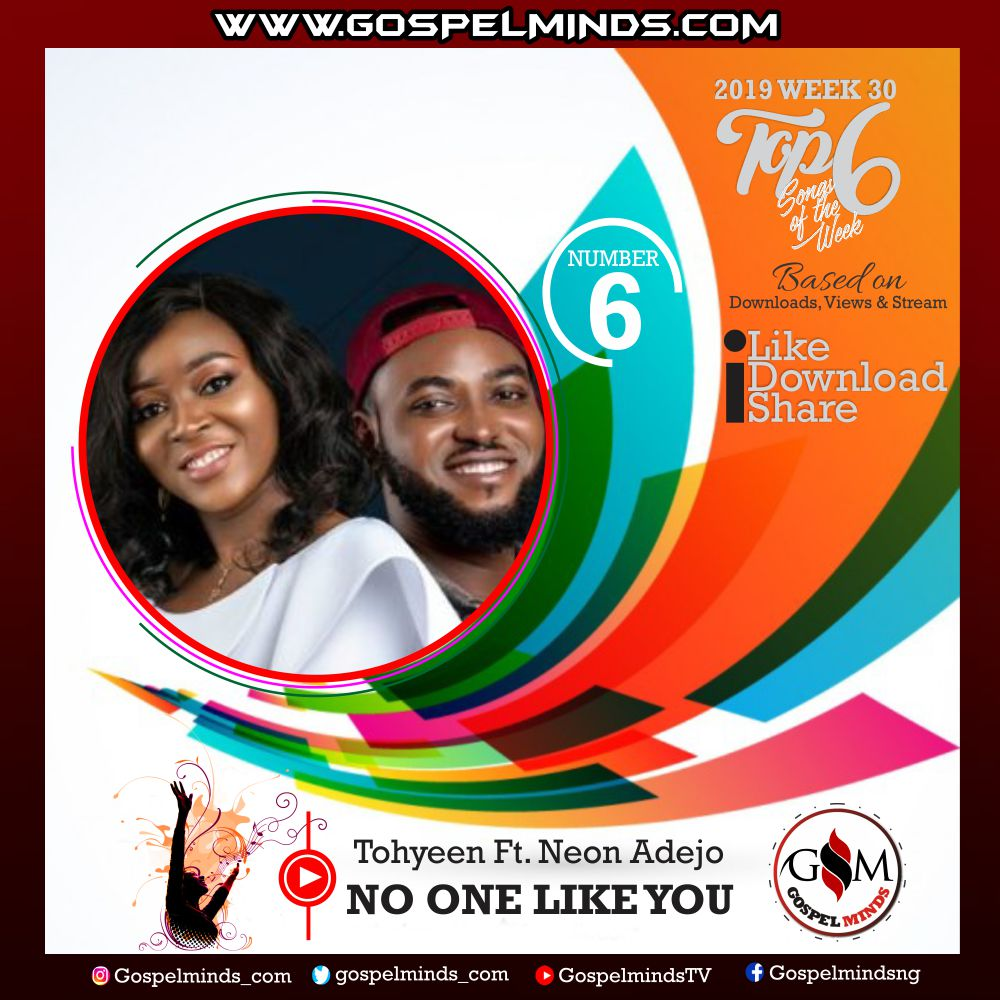 Top 6 Latest Nigerian Gospel Songs of The Week – 2019 WK 30 (Tohyeen – No One Like You Ft. Neon Adejo)