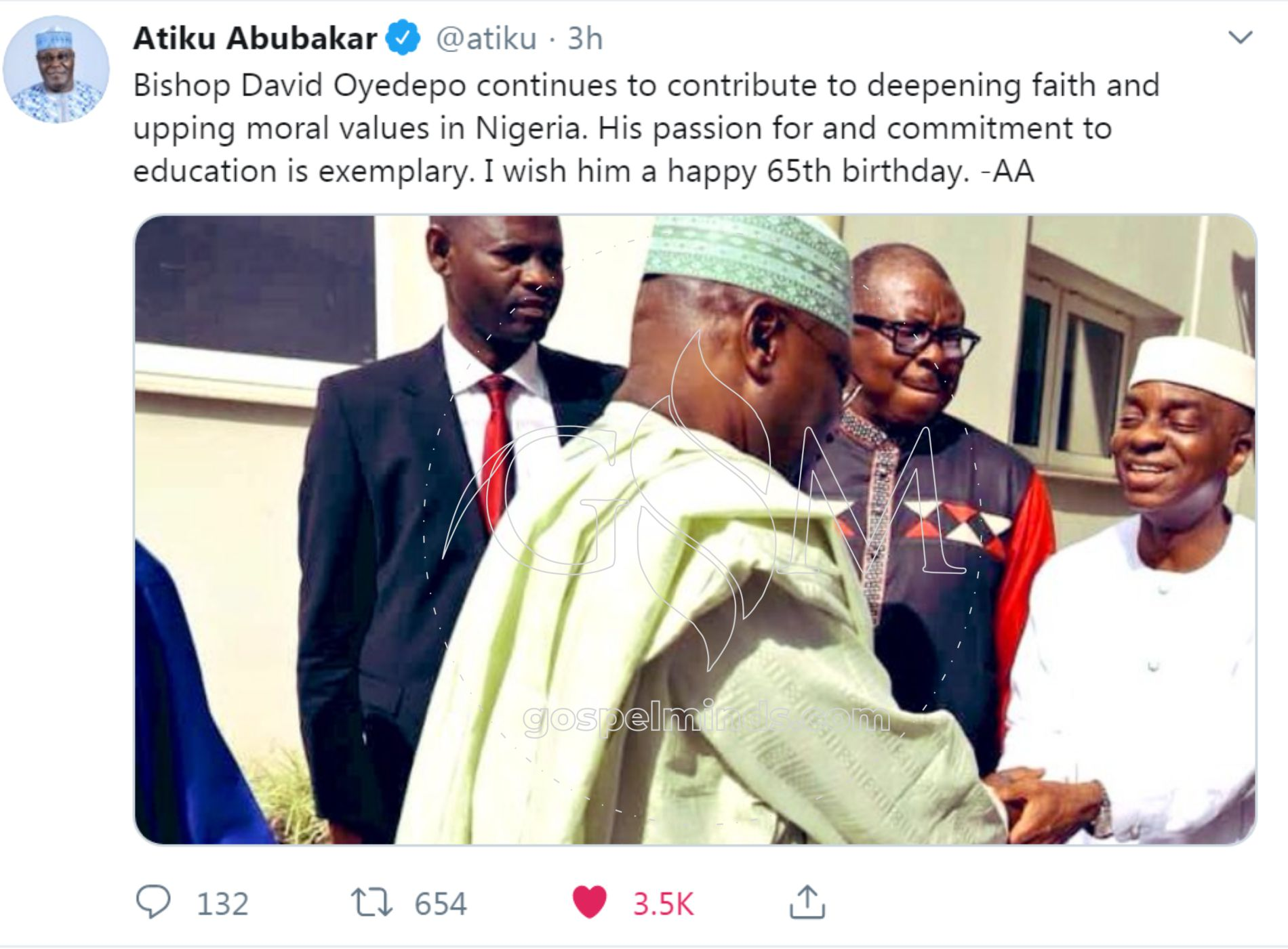 Atiku Celebrates Bishop David Oyedepo at 65th birthday