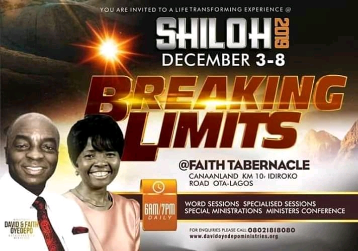 The Programme Schedule for Shiloh 2019 Breaking Limits All Sessions