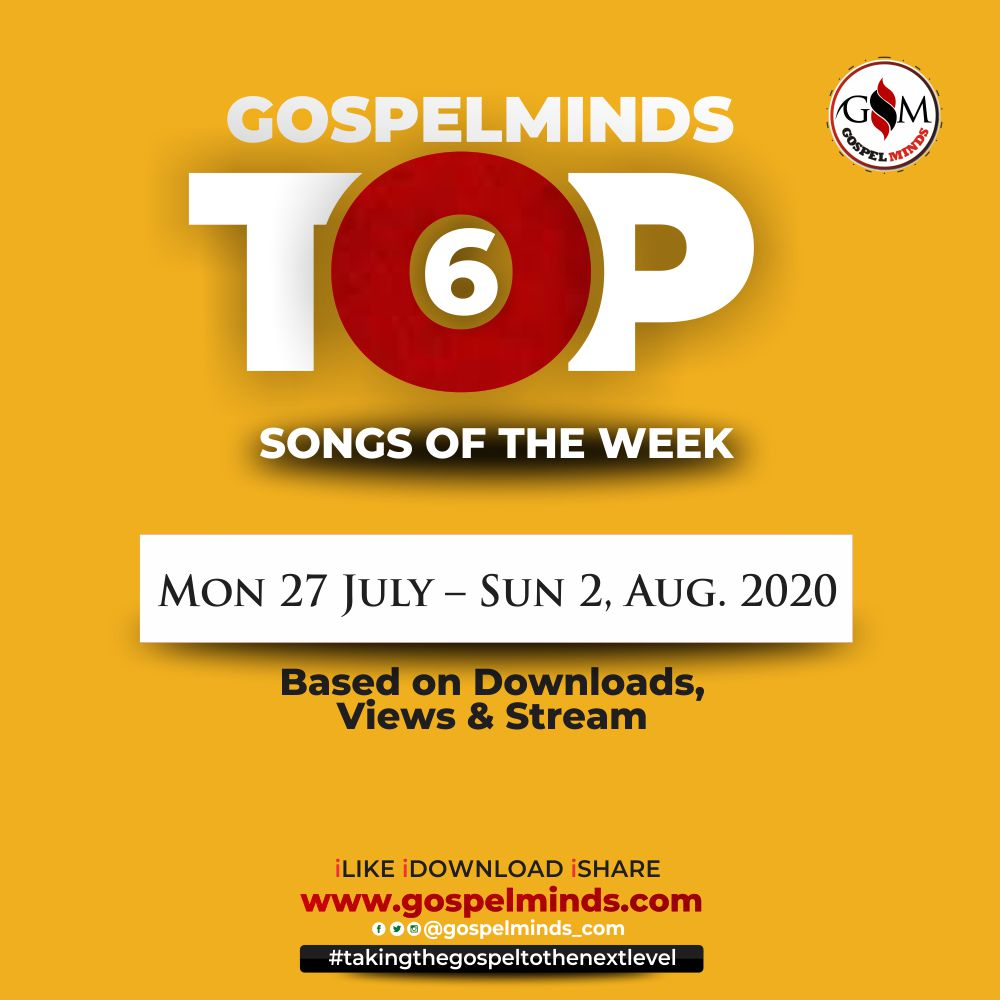 Top 6 Trending Nigerian Gospel Song Of The Week ending 2nd August, 2020