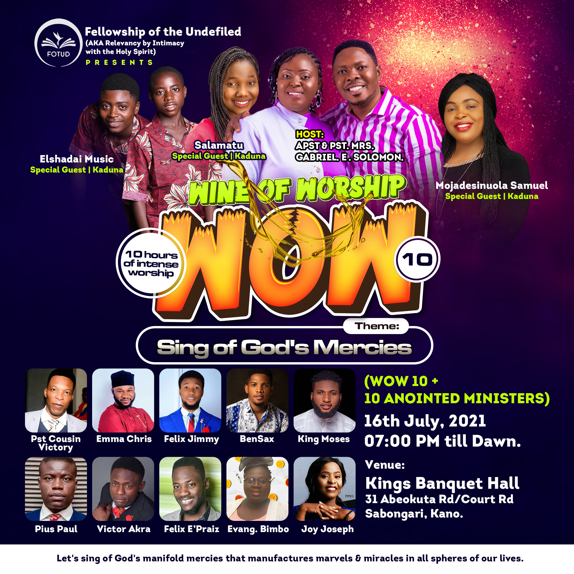 Wine Of Worship 10 (WOW 10+10) Friday 16 July 2021