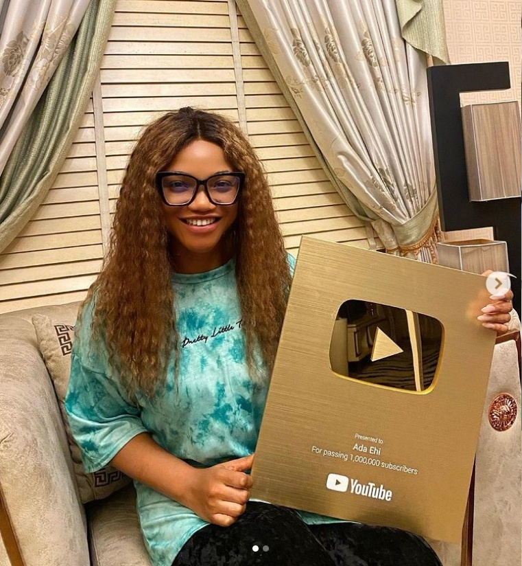 Ada Ehi hits I Million Subscribers on YouTube and Receives Gold Plaque